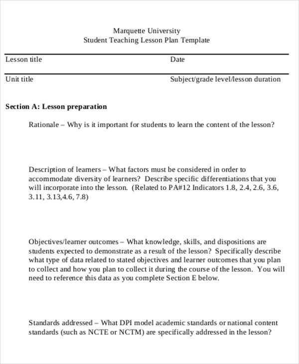 university teaching lesson plan