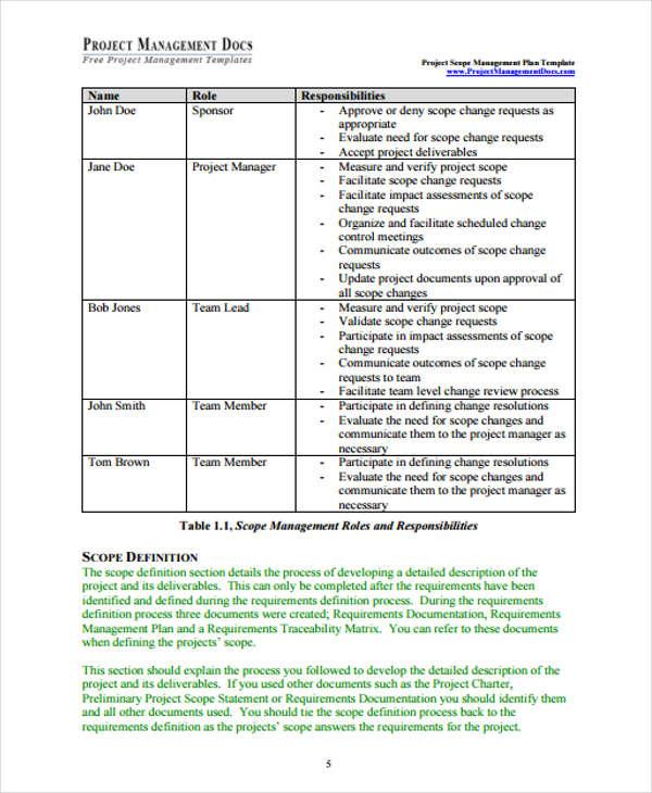 project scope management plan