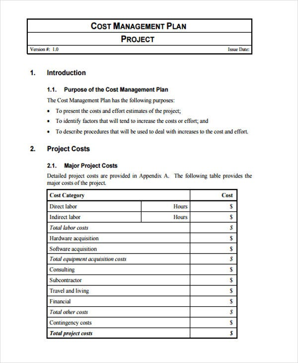 project cost management plan