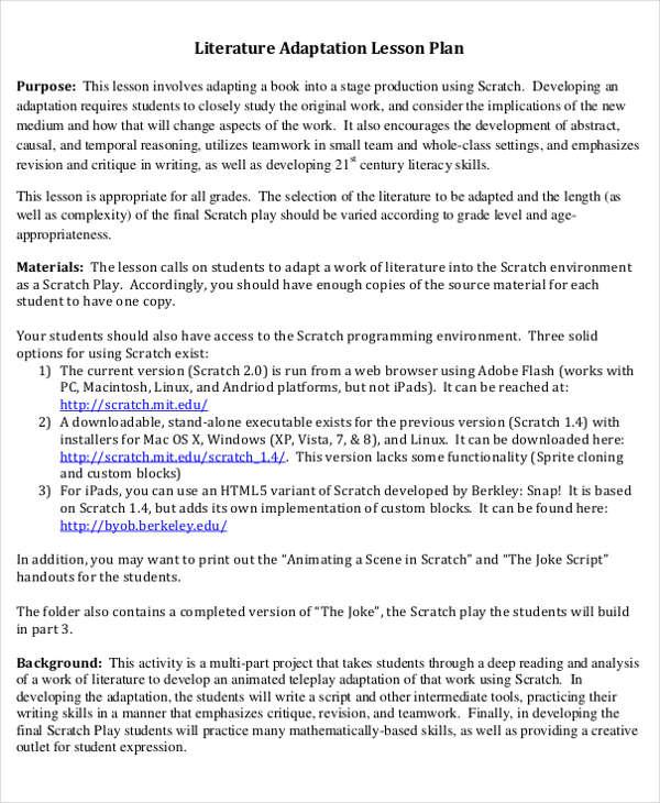 literature adaption lesson plan