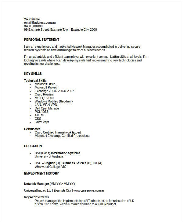 basic it resume templates 27 free word pdf documents