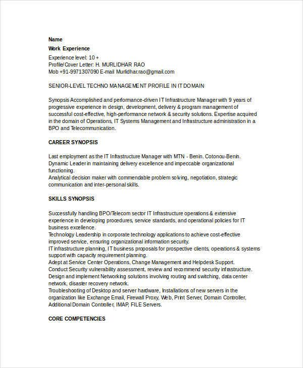 Basic IT Resume Templates 27 Free Word PDF Documents Download