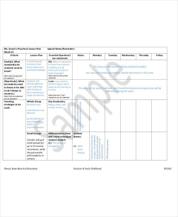 Lesson Plan Templates In PDF Free Premium Templates - Early childhood education lesson plan template