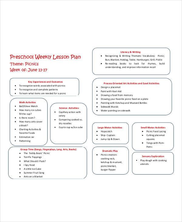 preschool weekly lesson plan
