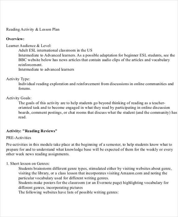 reading activity lesson plan
