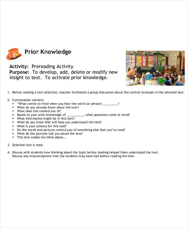 pre reading lesson plan