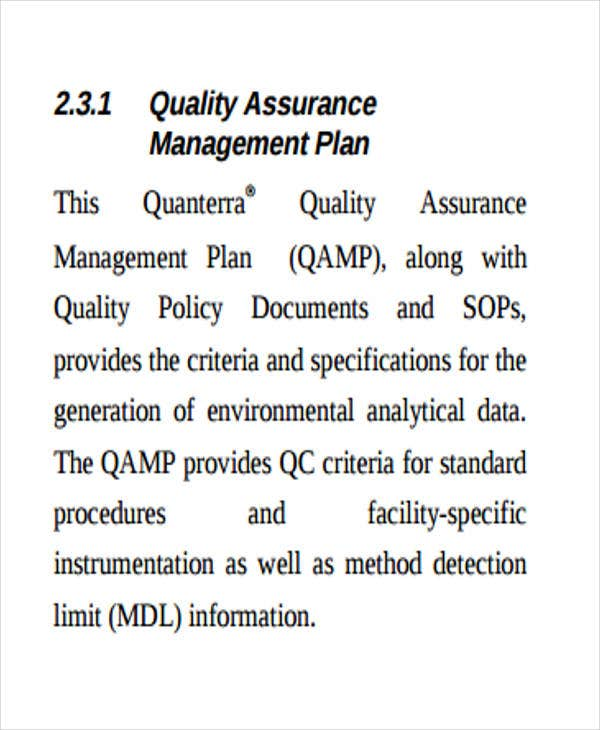 quality assurance implementation plan