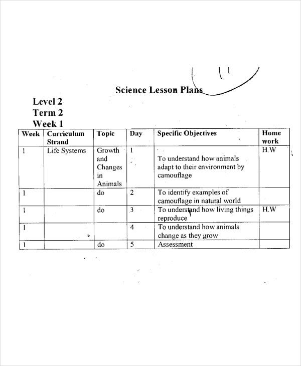 level 2 science lesson plan