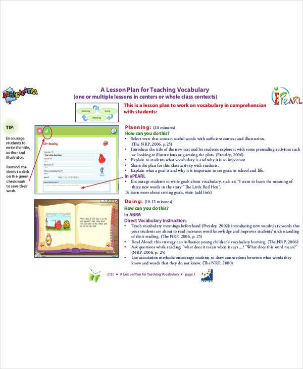 teaching vocabulary lesson plan