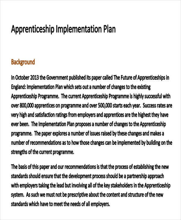 government apprenticeship implementation plan