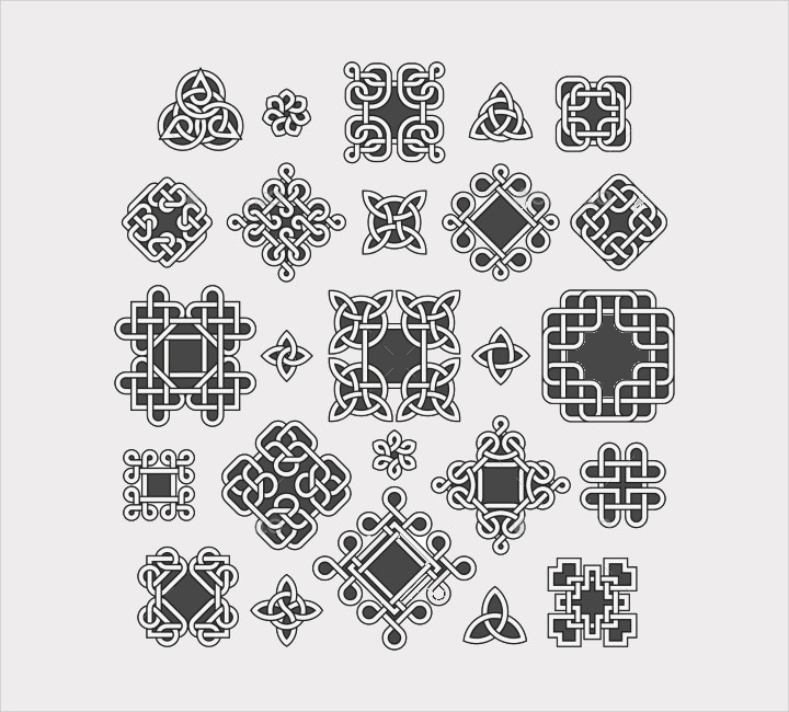 celtic endless knots patterns vector1