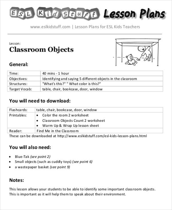 Lesson Plans For Esl Lesson Planorder 58 Related Files