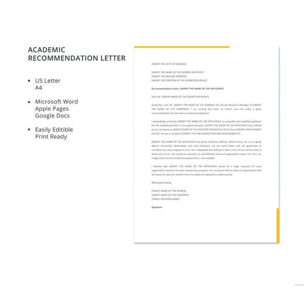 academic recommendation letter template
