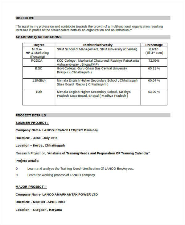 Resume Format For Freshers For Accountant: 16+ Best Fresher Resume Templates - PDF, DOC