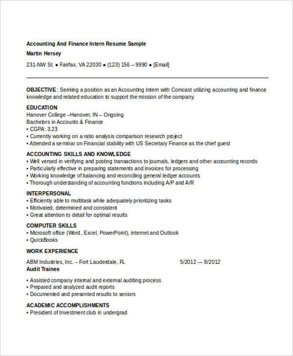 Resume For Internship In Accounting