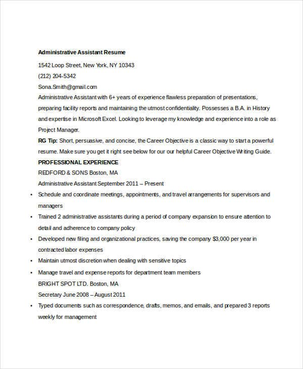 administrative assistant resume1
