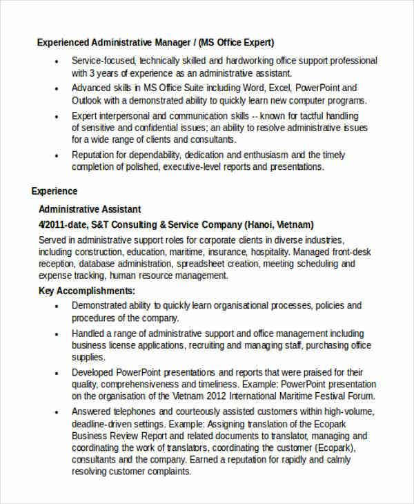 administrative manager work resume6