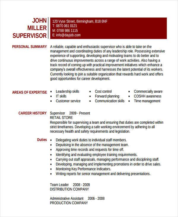 administrative supervisor work resume1