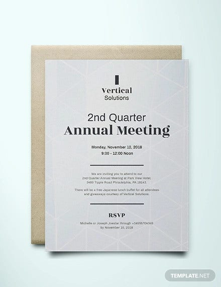 annual meeting invitation card template