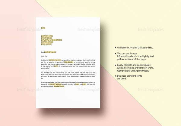 application-acknowledgement-letter-template