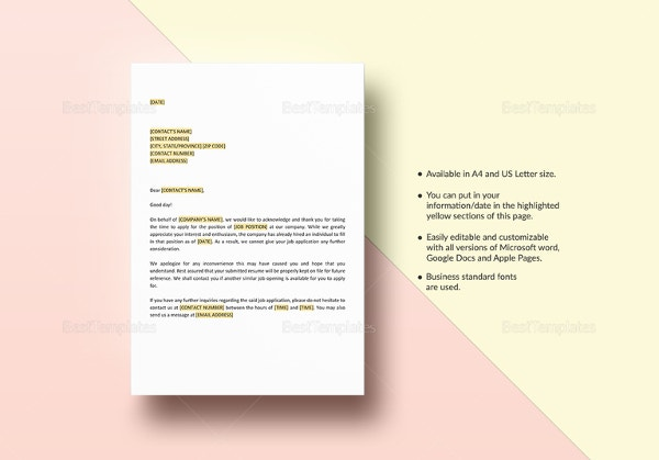 application-acknowledgement-template