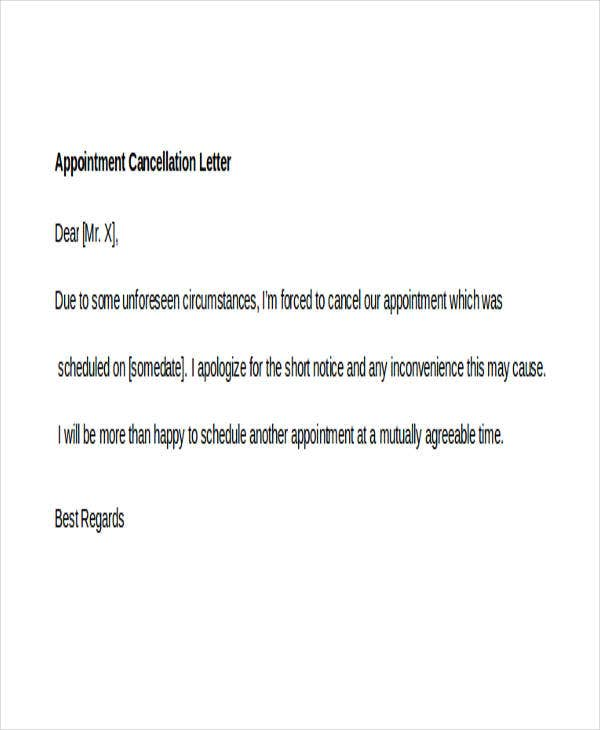 7 appointment cancellation letter templates free samples