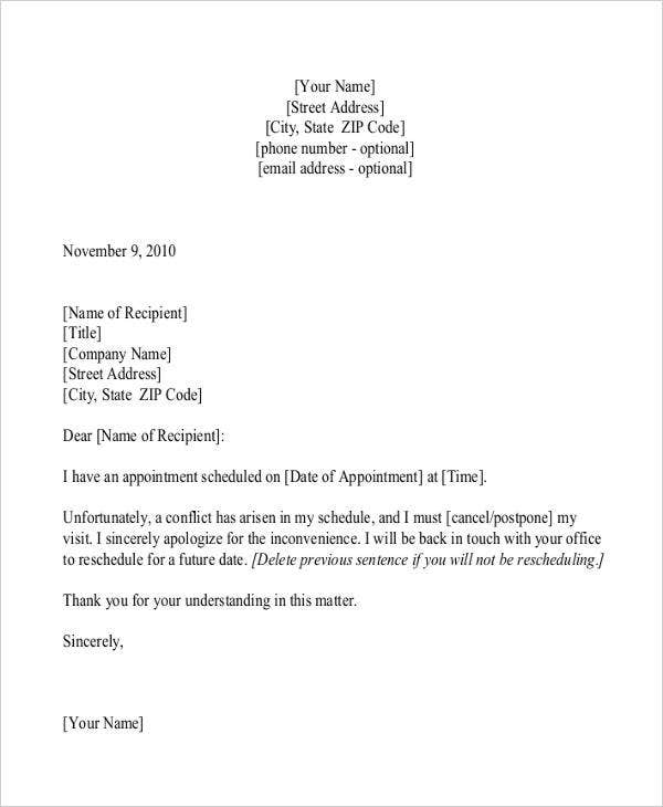 Appointment cancellation letter template 6 free word pdf format appointment cancellation in pdf altavistaventures Images