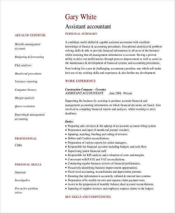 exle of resume for finance assistant 28 images free