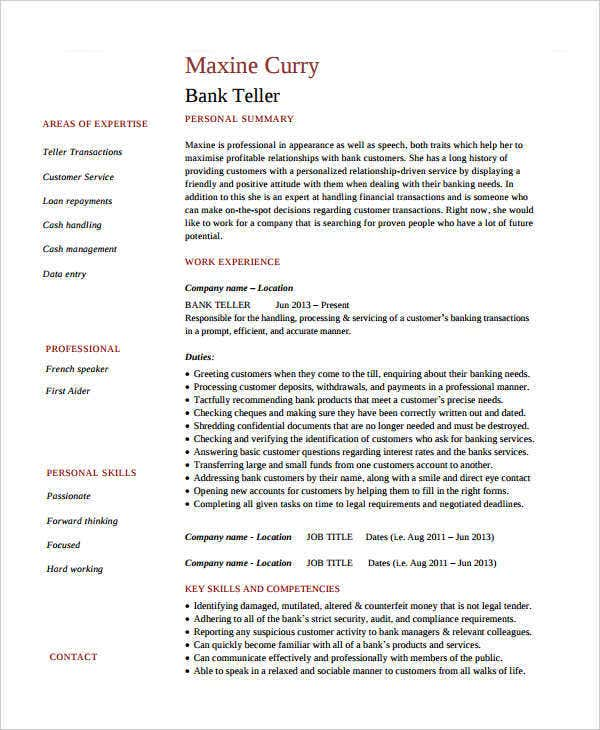 Cover Letter Sample For Bank Teller With No Experience: 24+ Professional Banking Resumes