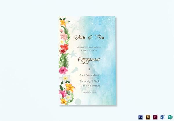 beach engagement announcement card template