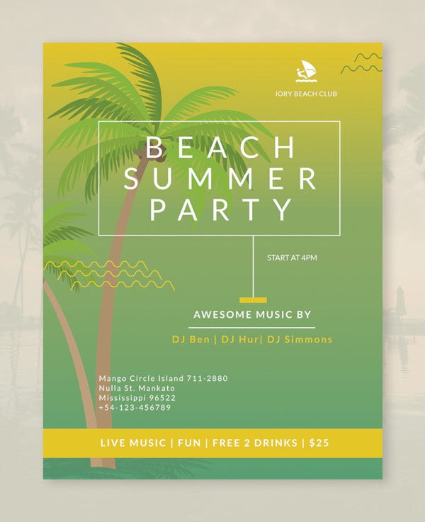 beach flyer template