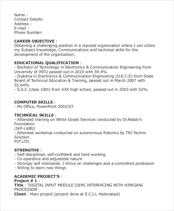 best fresher engineer resume format1