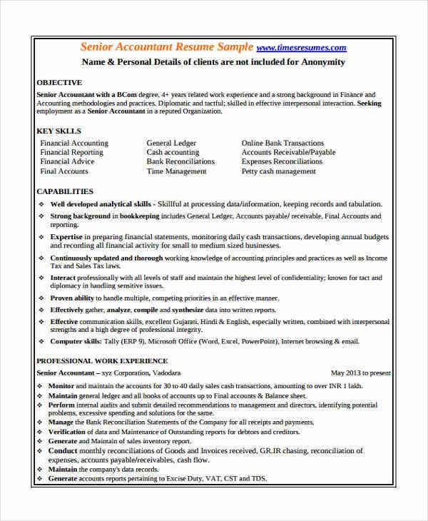 best senior accountant resume sample - Accountant Resume Template