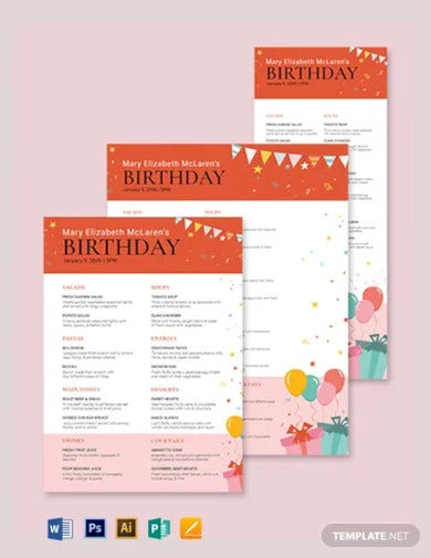 birthday party menu template1