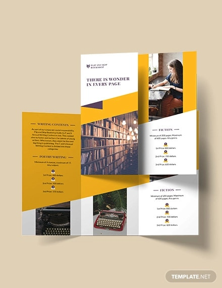 book store tri fold brochure template
