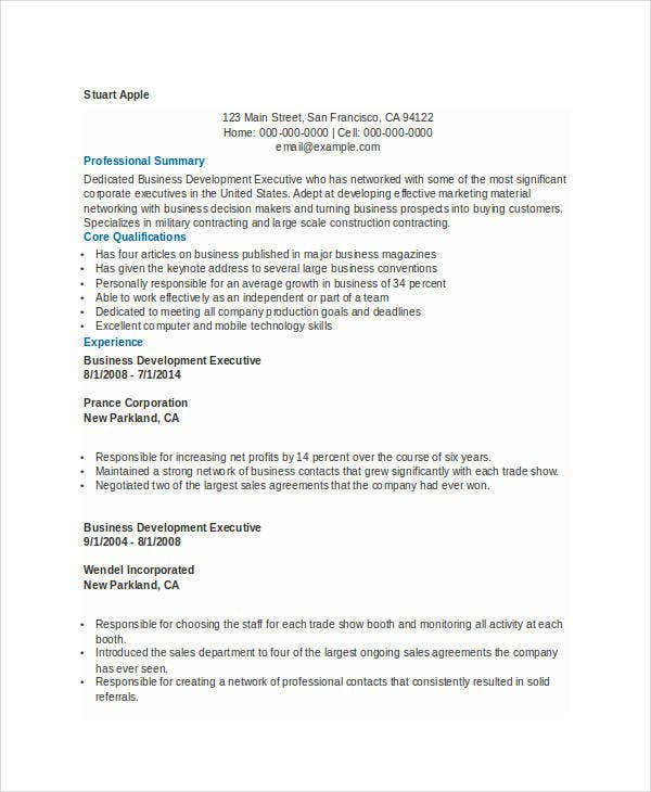 Best Business Resume - 30+ Free Word, Pdf Document Download | Free