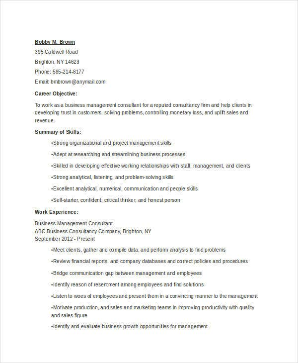 Business Management Resume Example  Business Management Resume
