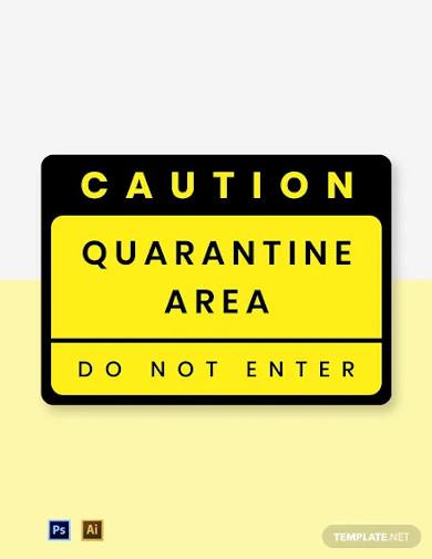 caution quarantine area label template