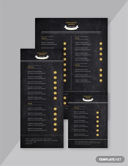 chalkboard blank menu template