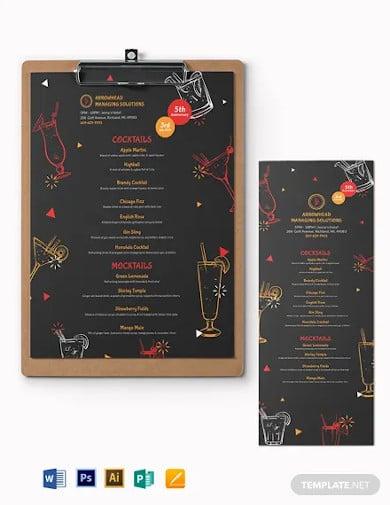 cocktail party menu template
