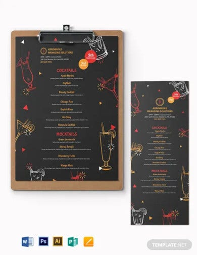 cocktail party menu template1