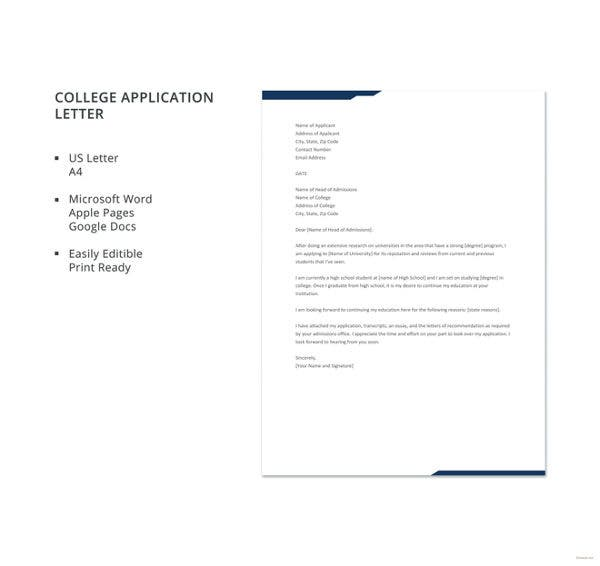 college-application-letter-template