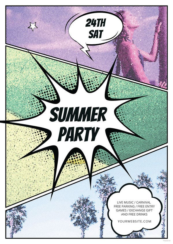 comic summer party flyer template