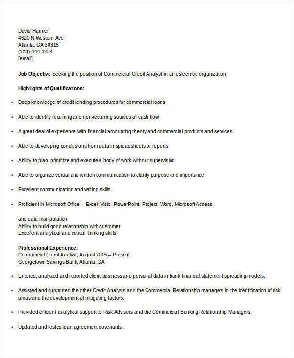 commercial banking credit analyst resume4