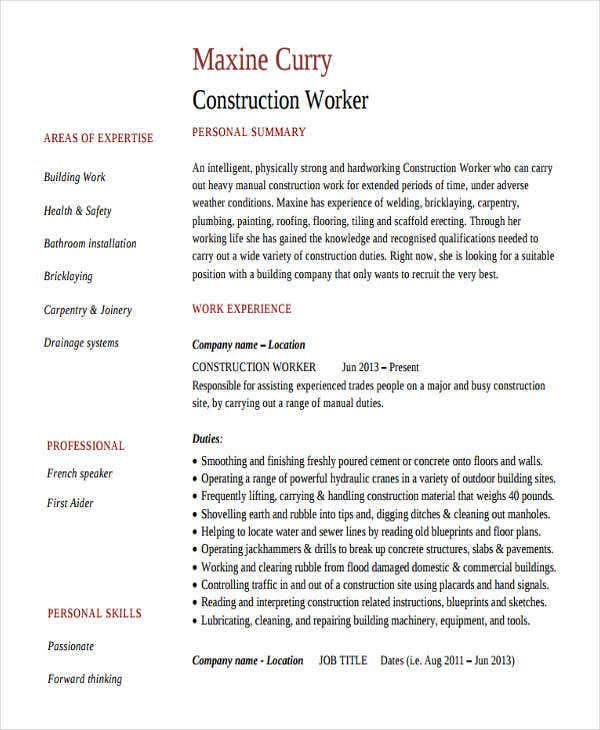 construction worker work resume2