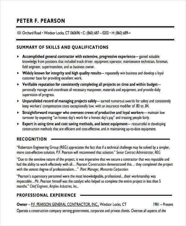 contract work resume sample4