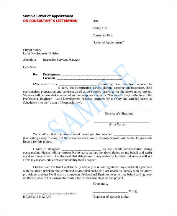 6  contractor appointment letter templates