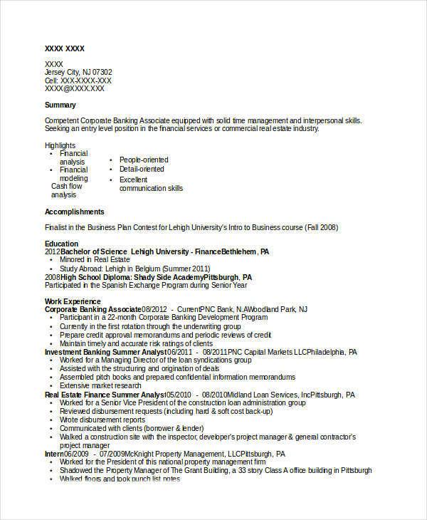 banking professional resume