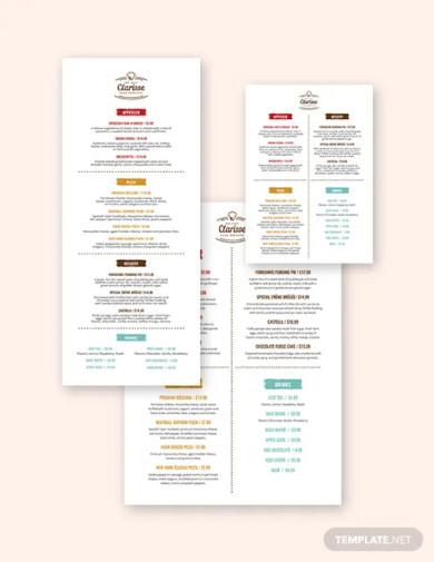 corporate event menu template