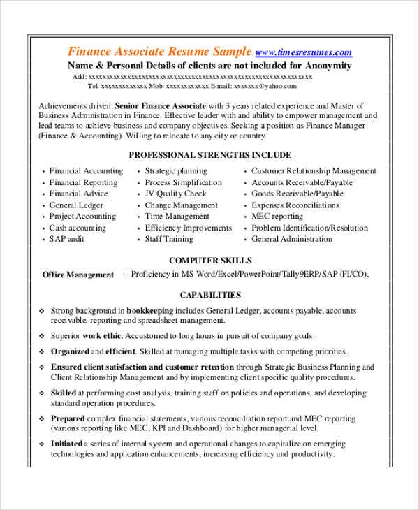 corporate finance associate - Corporate Resume Samples